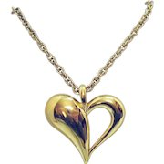 Signed Monet Vintage Abstract Puff Heart Pendant Necklace