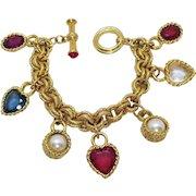 Glorious Vintage Golden Heart Glass Faux Pearl Charm Bracelet Unworn 94.7 Grams