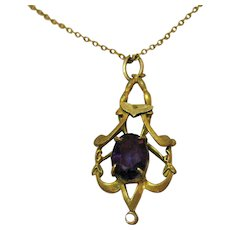 Antique Art Nouveau 14K Gold Amethyst Pendant Necklace