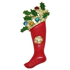 Vintage Christmas Stocking Enameled Rhinestone Holly Brooch