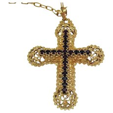 Elusive Limited Edition Signed Sarah Coventry 1980 Vintage Rhinestone Cross Pendant Necklace