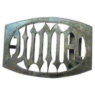 Art Deco Sterling Silver Vintage Initial Belt Buckle