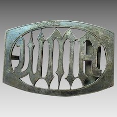 Art Deco Sterling Silver Vintage Initial Belt Buckle
