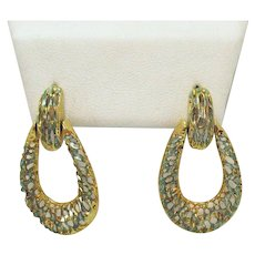 Signed M Sterling Silver Gold Overlay Vintage Woven Door Knocker Pierced Earrings