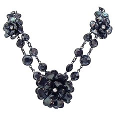 Beautiful Black Faceted Glass Collet Flower Japanned Necklace
