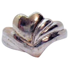 Unusual Vintage Sterling Silver Abstract Heart Band Ring