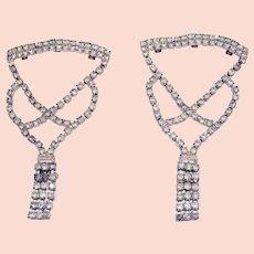 Unusual Vintage Sparkling Rhinestone Boot Clips 4 ½ Inches Long
