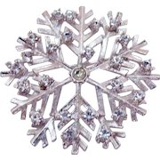 Signed Eisenberg Ice Vintage Silver Rhinestone Snowflake Brooch