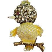 Adorable Vintage Yellow Rhinestone Enameled Figural Chic Bird Brooch