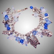 Unique Vintage Sterling Silver Glass Beaded Celebrate Boys Charm Bracelet Italian Made