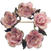 Gorgeous Signed Coro Porcelain Pink Rose Vintage Brooch
