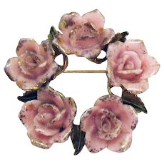 Gorgeous Signed Coro Porcelain Pink Rose Vintage Brooch