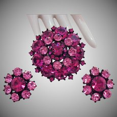 Signed Weiss Gorgeous Pink Rhinestone Vintage Japanned Metals Brooch Earrings Set