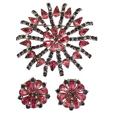 50% Off Magnificent Pink Purple Rhinestone Silver Rhodium Plated Brooch Clip Earrings Set FREE SHIPPING