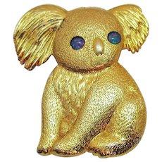 Adorable Vintage Gold Plated Figural Koala Bear Brooch Faux Opal Eyes