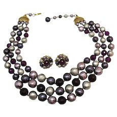 Amazing Vintage Three Strand HUGE Necklace Clip Earrings Set Purple Grey Lavender Faux Baroque Pearl