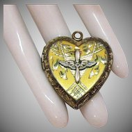 Sterling Silver Vintage Army Air Force Sweetheart Heart Locket Pendant