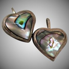 Signed ATI Mexico 925 Sterling Silver Vintage Abalone Heart Pierced Earrings