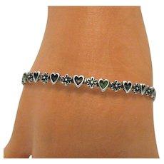 Signed Sterling Silver Heart Flower Vintage Bangle Bracelet