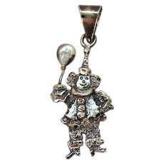 Signed MF 925 Mexico Vintage Sterling Silver Clown Pendant