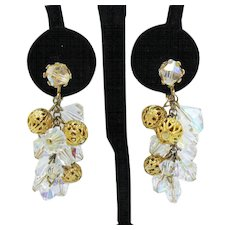 Shimmery Crystal Filigree Ball Chain Dangle Vintage Clip Earrings