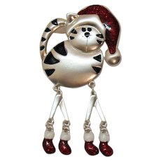 The Most Adorable Figural Kitty Cat Vintage Winter Enameled Brooch Articulated Legs Feet