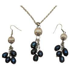 Vintage Baroque Freshwater Pearl Navy Blue Necklace Pierced Earrings Set Stainless Steel Unworn