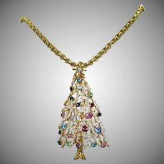 Gorgeous Vintage Christmas Tree Pendant Necklace Enameling Rhinestones