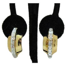 Stunning Vintage BOLD Channel Set Princess Cut Cubic Zirconia Pierced Earrings