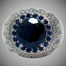Bold Vintage 4 ½ Carat Black Spinel Blue Sapphire Ring Platinum Bond Brass