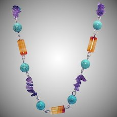 Gorgeous Vintage Gemstone Stainless Steel Necklace Agate Amethyst Turquoise Howlite Beads