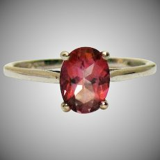 Gorgeous Pink Topaz Solitaire 1.50 Carats Sterling Silver 925 Vintage Ring Unworn
