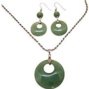 Vintage Sterling Silver Green Jade Pendant Necklace Pierced Earrings Set