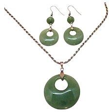 Vintage Sterling Silver Green Jade Pendant Necklace Pierced Earrings Set