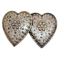50% Off Unusual Old Silver Metal Heart Repousse Etched Vintage Belt Buckle