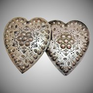 Unusual Old Silver Metal Heart Repousse Etched Vintage Belt Buckle