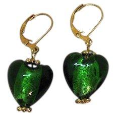 Vintage Foiled Green Art Glass Dangle Puff Heart Pierced Earrings