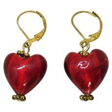 Vintage Foiled Cherry Red Art Glass Dangle Puff Heart Pierced Earrings