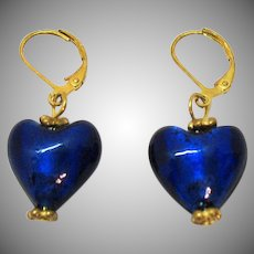 Vintage Foiled Cobalt Blue Art Glass Dangle Puff Heart Pierced Earrings