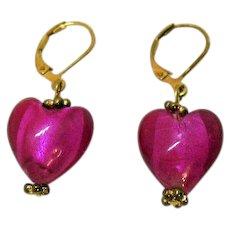 Vintage Foiled Hot Pink Art Glass Dangle Puff Heart Pierced Earrings