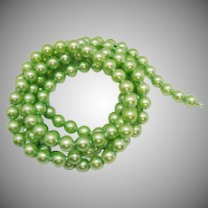 Vintage Plastic Pop Beads Mint Green Necklace 60 Inches Long