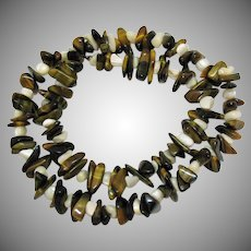 Gorgeous Vintage Tigers Eye Gemstone Mother of Pearl Necklace 110 Grams!