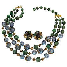Amazing Unsigned Alice Caviness Vintage Lucite Mottled Green Necklace Earrings Set Leaf Wrapped