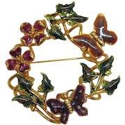 Unusual Enameled Butterfly Floral Vintage Eternity Style Brooch
