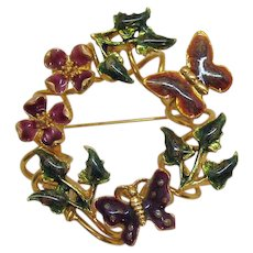 Unusual Enameled Butterfly Floral Vintage Eternity Style Brooch