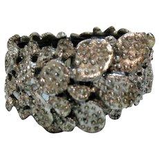Rare Signed Tortolani Prickly Pear Cactus Vintage Hinged Cuff Bracelet