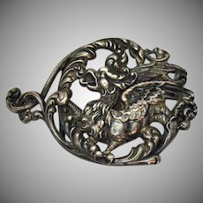 Antique Art Nouveau Sterling Silver Signed Winged Lion Snake Belt Buckle