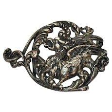 Antique Art Nouveau Sterling Silver Signed Winged Lion Snake Belt Buckle