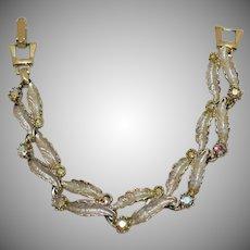 Vintage Sparkling Enameled Leaves Aurora Borealis Rhinestone Bracelet