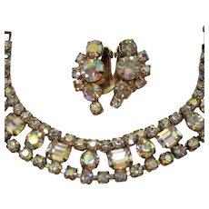 High End Emerald Round Rhinestone Vintage Bracelet Earrings Set